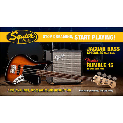 E-Bass Set Squier Affinity Jaguar Bass Special SS & Rumble 15 Bass Bundle Amp Ve