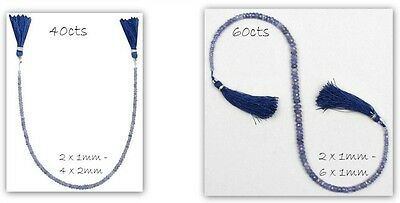 Tanzanite Graduated Faceted Rondelle Bead Strand Jewellery Maker