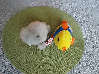 2 Vintage Puffkins Plush Animals Collectibles 1998 Whiskers Walrus Jules Fish