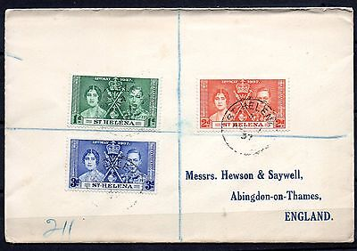 ST HELENA GVI George VI 1937 Cover to UK with Coronation issue 1d - 3d stamps