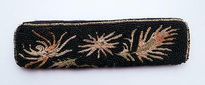 Vintage 1930's (Approx) Black Glass Beaded & Embroidered Comb-Case