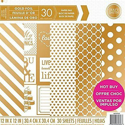 Craft Smith Gold Gift Paper Pad 36 Sheets 12 x 12 New