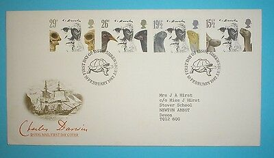 GB First Day Cover - 1982 - Charles Darwin - Special h/stamp -Shrewsbury