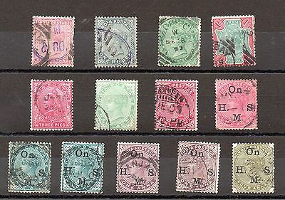INDIA QV later Victoria used stamp definitives and officials selection star wmk