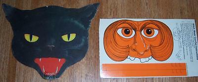 Vintage Halloween Litho Black Cat Face and Witch Cereal Box Cardboard MASK LOT