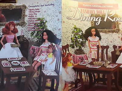 New Fashion Doll Dining Room Furniture Table Chairs Plastic Canvas Pattern Book