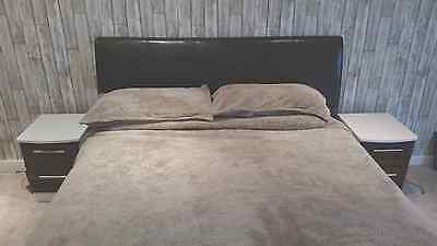 King Size Brown Faux Leather Ottoman Bed Frame