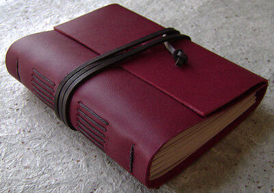 Handmade leather journal, deep red journal, travel journal, vintage style diary