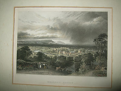 Antique engraved print of Whalley Abbey,engraved by J A Redaway pre 1900