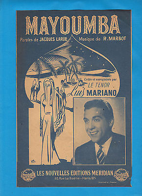 Partition ancienne French Old Sheet music LUIS MARIANO Mayounba