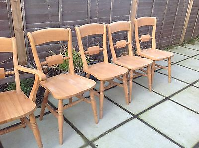 Gorgeous Set Of 6 Vintage Pine Dining / Kitchen Chairs