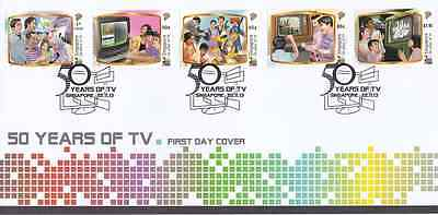 SINGAPORE - 2013 - FDC: 50 Years of TV. 5v
