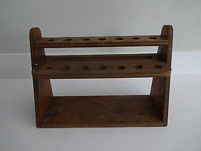 PIPE RACK WOODEN HANDMADE 14 PIPE SPACES-Pipes not included