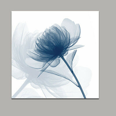 Framed Canvas Print Painting Pictures Wall Art Home Decor Blue Flower Abstract