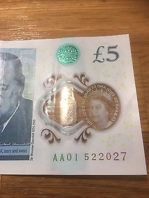 Rare New £5 Pound Note with the serial number starting AA01