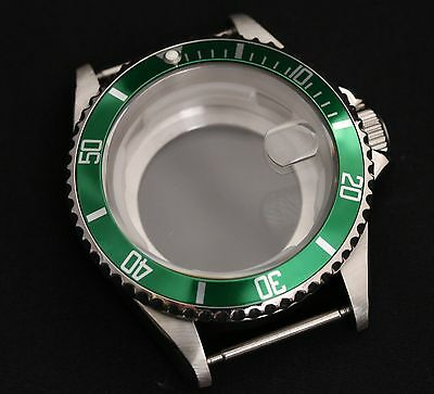 NEW Stainless steel watch case polished generic submariner green bezel eta glass