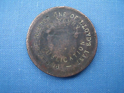 Irish George III penny counterstamped countermarked Lloyds weekly news