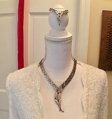 925 Sterling Silver Snake Link Necklace and Bracelet Set   Taxco Mexico Puzzle