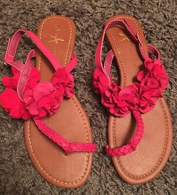 Red Flower Flip Flops / Sandals (Size 8 / 41) Worn Once!