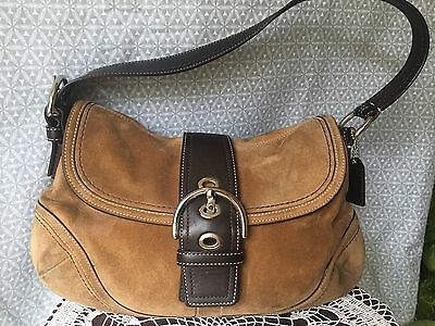 Coach handbag Hippie Boho Sued Shoulder Bag Tan Purse Leather