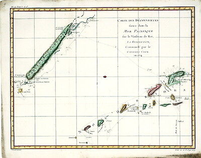 Antique Map - 1776 -  Discovery -  Pacific - Cook - Benard, 1776