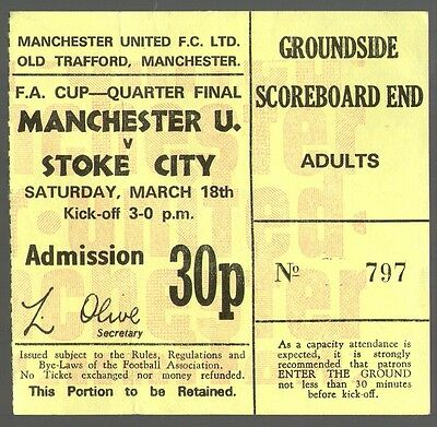 1971/72 MANCHESTER UNITED v STOKE CITY - FA CUP MATCH TICKET