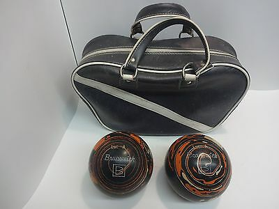 2 Vintage Original Brunswick Duckpin Bowling Balls 5 Inches With Bag