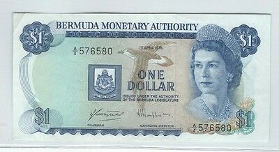 Bermuda monetary authority QE $1  banknote - see scans