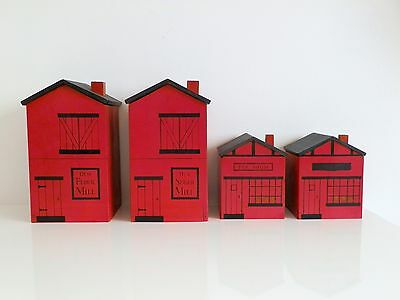 Vtg 50s 60s Kitchen Woodcrest Styson Japan Red Old Mill House Wood Canister Set