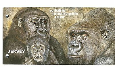Great Britain Jersey Wildlife Preservation Trust brochure with nh stamps-gorilla