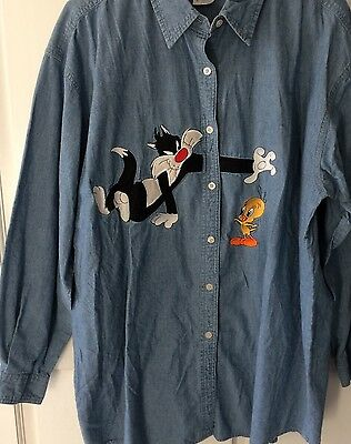 Warner Brothers Sylvester & Tweety Chambray Shirt Women's XL