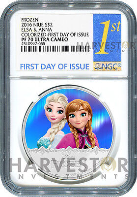 2016 Silver Disney Frozen Series - Elsa & Anna - Ngc Pf70 First Day Of Issue Ogp