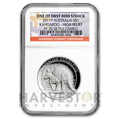 2011 Silver Australia Kangaroo High Relief - Ngc Pf70 One Of Irst Of 4000 Struck