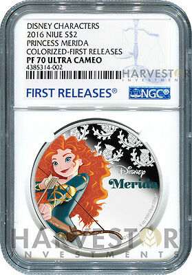 2016 Silver Disney Princess Series - Merida - Ngc Pf70 First Releases W/ogp
