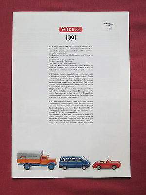 Wiking Verkehrs Modelle Catalogue 1991 German Text 16 Pages