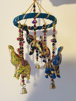 Beautiful Hand Made Unique Indian Elephant Mobile Hanging Bells Beaded Brand New