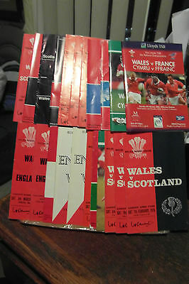 collection of wales programmes homes and aways  x22 rugby union programmes