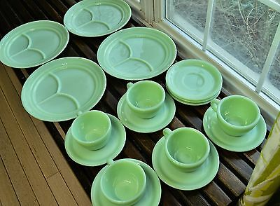4 FIRE KING JADITE RESTAURANT WARE 3-PART GRILL PLATES Cups Saucers