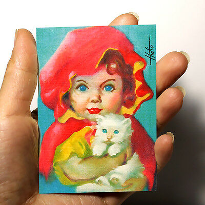 "ORIGINAL MINIATURE ART PICTURE WATERCOLOR ACRYLIC PAINTING ""GIRL and CAT"" ACEO"