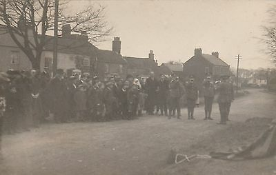 RP Postcard. Crowd in Street Scene with Army Buglers. REDCAR.