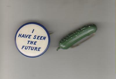 2 1939-40 Ny World's Fair Pins - Gm I Have Seen The Future & Heinz Pickle Pin