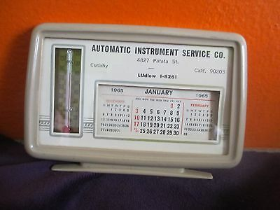 Vintage 1965 AUTOMATIC INSTRUMENT SERVICE Co. Thermometer  / CALENDAR  Free Ship