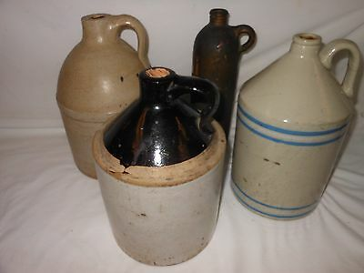 Antique Stoneware Pottery Jugs Lot Early German Redware, Blue Stripe, Moonshine