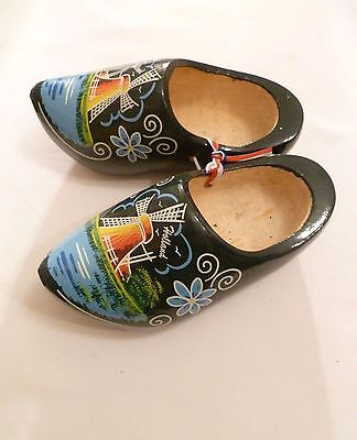 GREEN with ORANGE, PALE BLUE & WHITE HOLLAND DUTCH WOODEN CLOGS NETHERLANDS