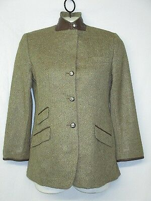 Vintage Ralph Lauren Herringbone Crested Button Leather Riding Jacket Size 12