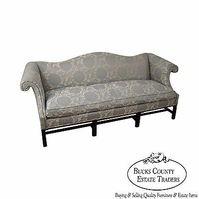 Hickory Chair Chippendale Style Blue Damask Sofa