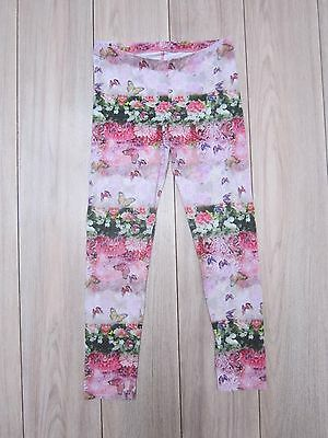 Used Girls Pink Floral Butterfly Print Leggings Age 9-10Yrs