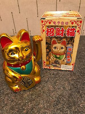 """Chinese Lucky Waving Gold Cat Figure with Moving Arm 5"""""""