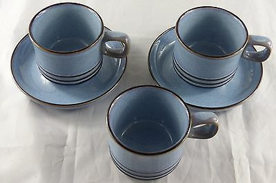 Denby blue and brown cups and saucers - 3 cups and 2 saucers