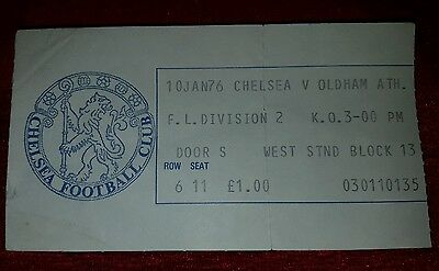 ** TICKET STUB **  CHELSEA v Oldham Athletic  10th Jan 1976   (+ programme)